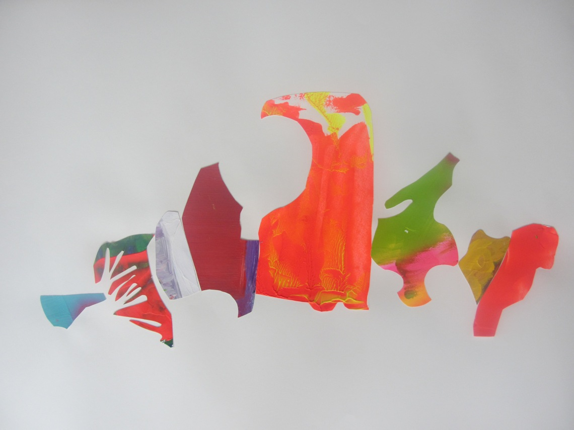 The way they occupy a space (II), Laura Barbuto, acrylics on paper cut-outs, 59,4 x 84,1 cm, 2013.
