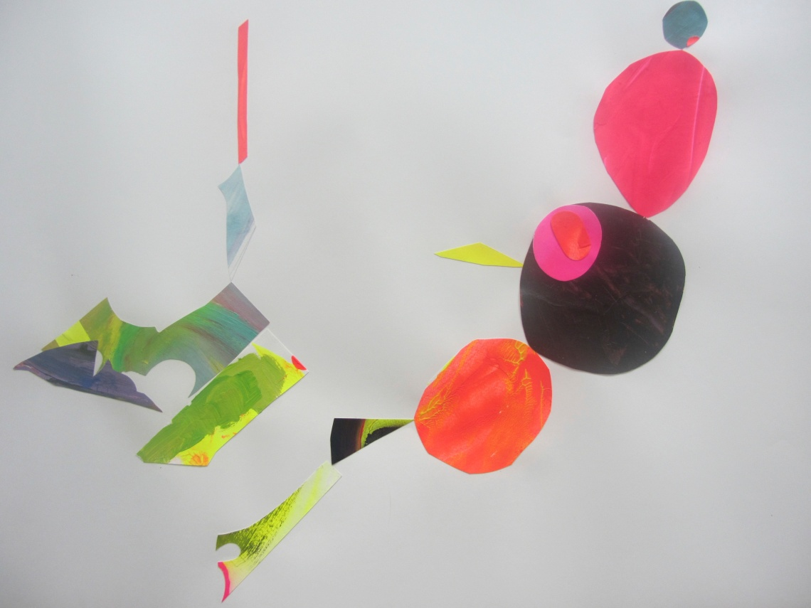 The way they occupy a space, Laura Barbuto, acrylics on paper cut-outs, 59 x 84 cm, 2013.
