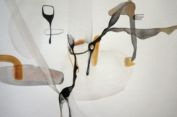 Endless Senseless 6, watercolours con paper, Laura Barbuto, 2014.
