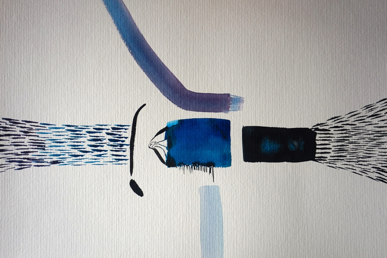 Wired, watercolours on paper 30 x 40 cm, Laura Barbuto, 2014.