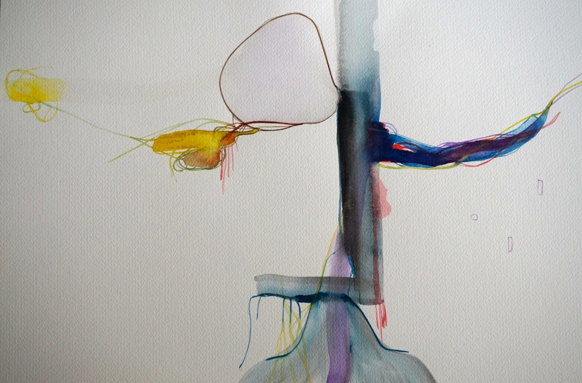 Wired 2, watercolours, 34 x 48 cm, Laura Barbuto, 2014.