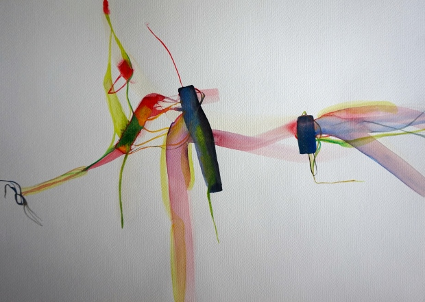 Wired, watercolours on paper, Laura Barbuto, 2014
