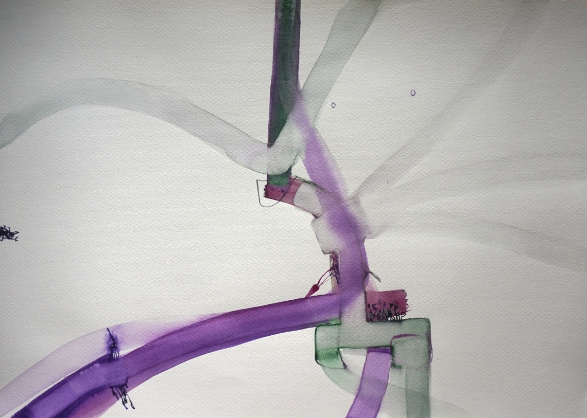 Wired 3, watercolours, 34 x 48 cm, Laura Barbuto, 2014.