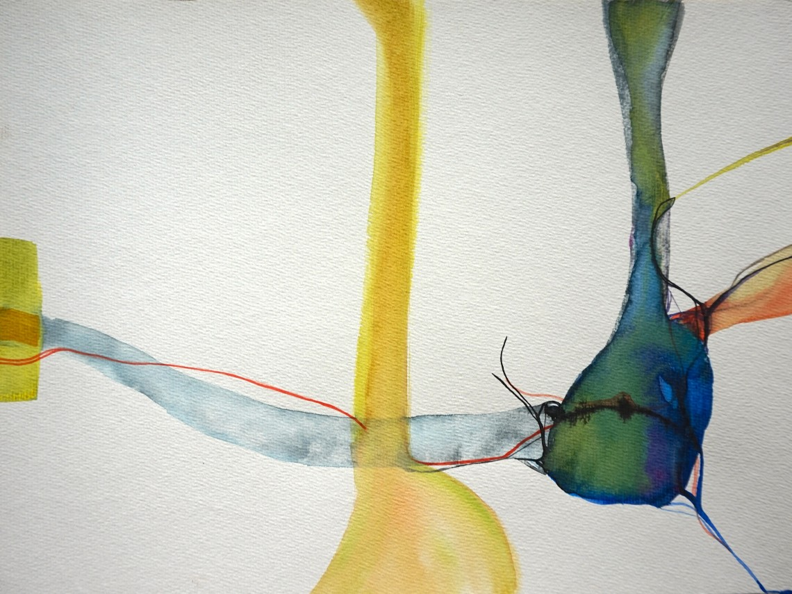 Wired, watercolours, 34 x 48 cm, Laura Barbuto, 2014.