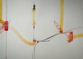 Wired 6, watercolours,  34 x 48 cm, Laura Barbuto, 2014.