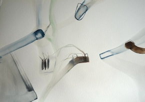 Wired 9, watercolours, 34x48 cm,  Laura Barbuto, 2014.