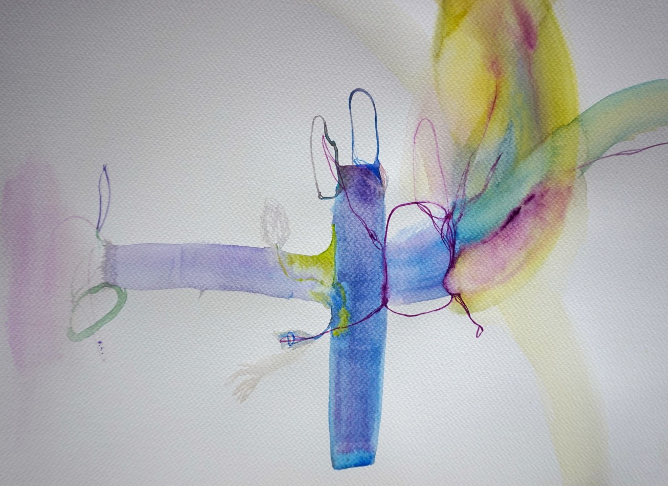 Wired 5, watercolours, 34 x 48 cm, Laura Barbuto, 2014.
