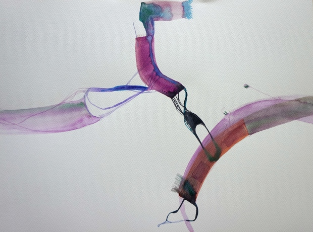 Wired 8, watercolours, 30 x 40, Laura Barbuto, 2014.