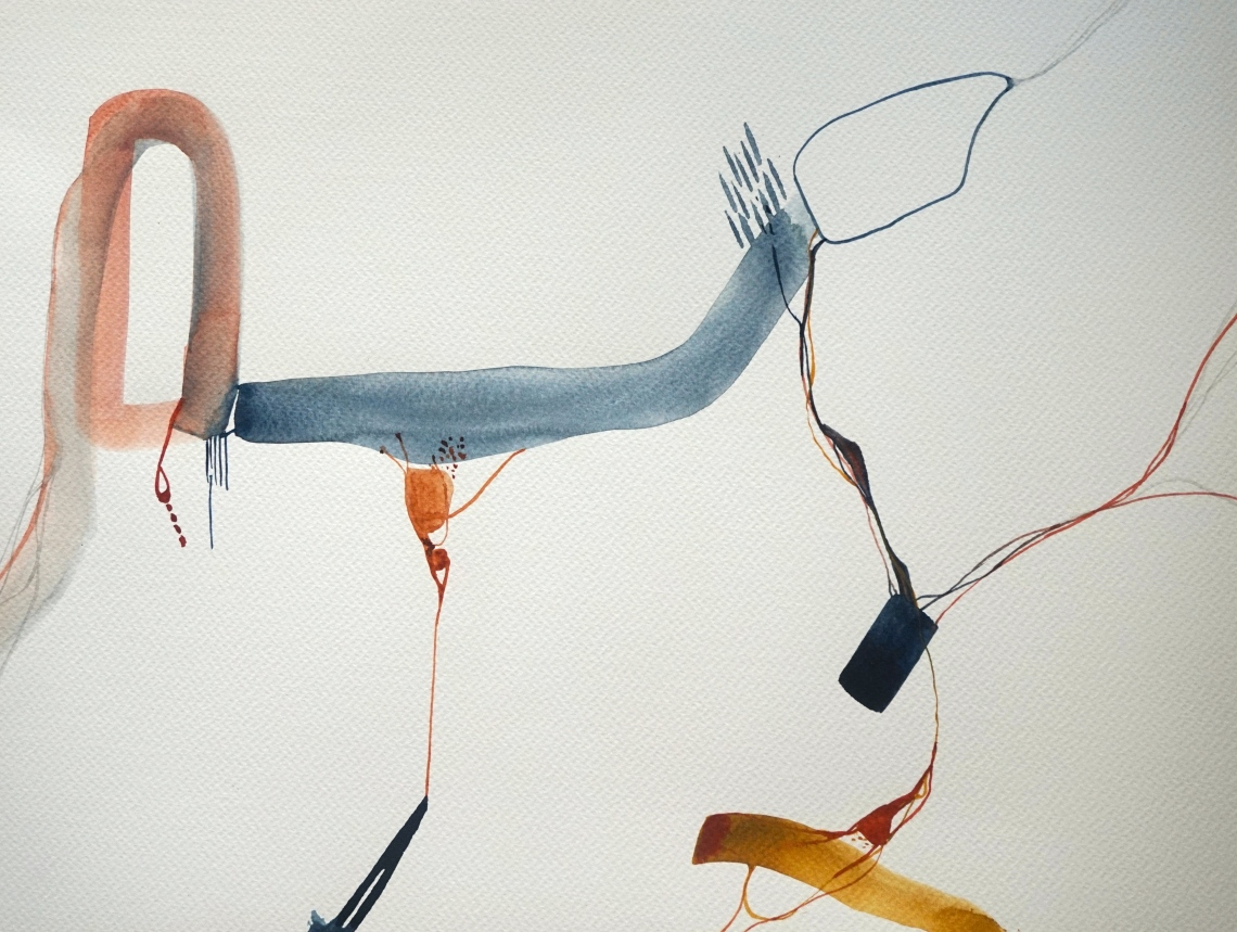 Wired 8, watercolours, 30x40 cm, Laura Barbuto, 2014.