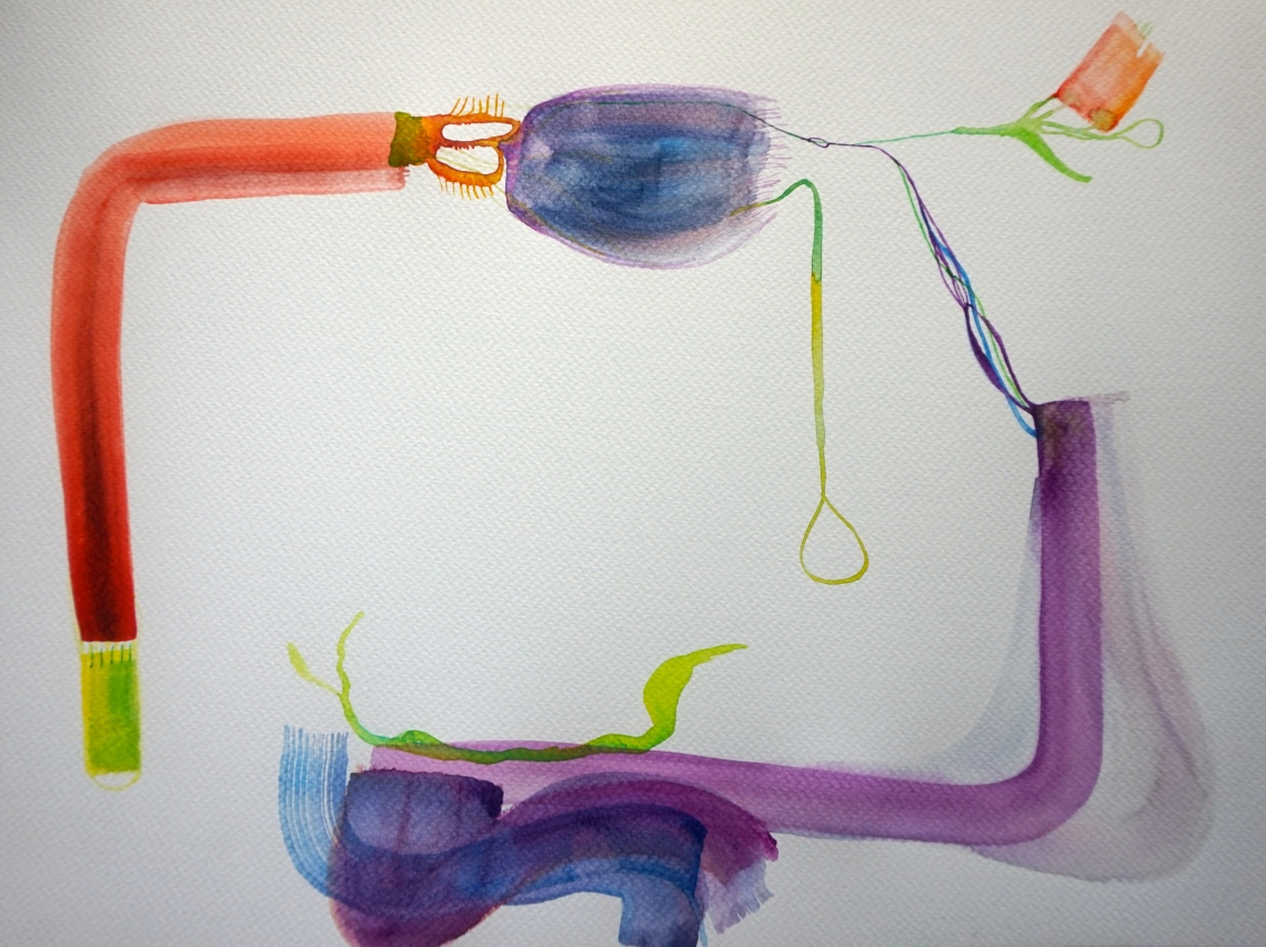Wired 9, watercolours, 30x40 cm, Laura Barbuto, 2014.