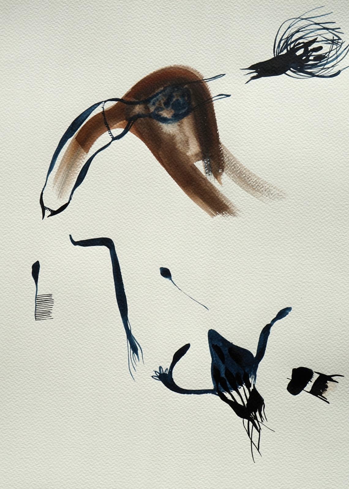 Nasty Little Creatures 4, watercolours, 30 x 40 cm, Laura Barbuto, 2014.