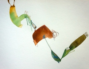 Verde 5 (el baile), watercolours, 30x40 cm, Laura Barbuto, 2013.
