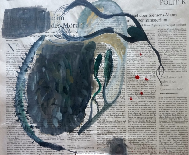 We don´t know yet, watercolours and ink on newspaper, 40x35cm, Laura Barbuto, 2015.
