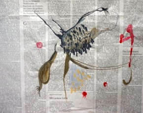 We don´t know yet (Glückskind), watercolours and ink on newspaper, 40x34cm, Laura Barbuto, 2015.